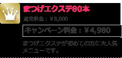 まつげエクステ80本 キャンペーン料金:¥4,980