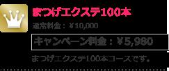まつげエクステ100本 キャンペーン料金:¥5,980